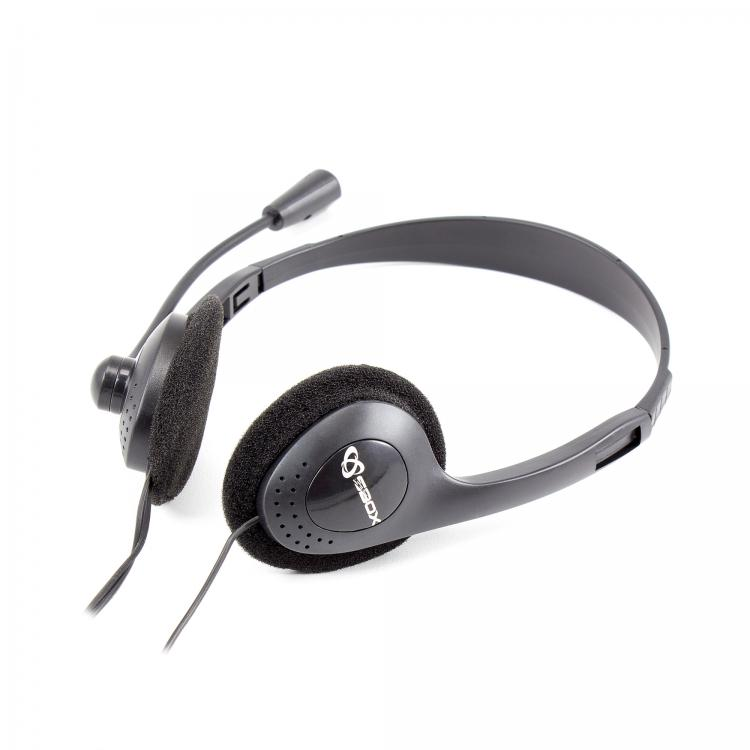 Headphone/ Sbox/ SBOX Headset + Microphone  HS-201 Cable: 1,8m  Black