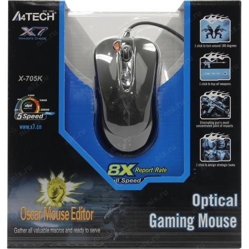 თაგვი: A4Tech Optical Mouse X-705K USB OSCAR Gaming Mouse