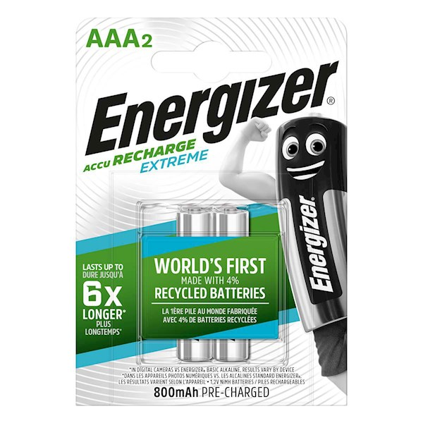 Energizer Extreme AAA 800mAh აკუმულატორი, 2ც შეკრა E300324500