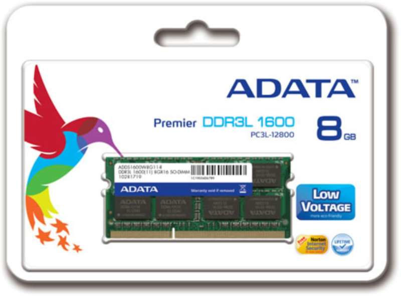 ADDS1600W8G11-S ADATADDR3LSO-DIMM1600512X88GB11-SINGLE TRAY for laptop