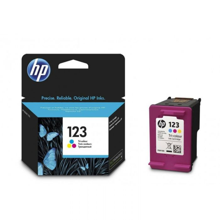 F6V16AE HP 123 Tri-Color Original Ink Cartridge.