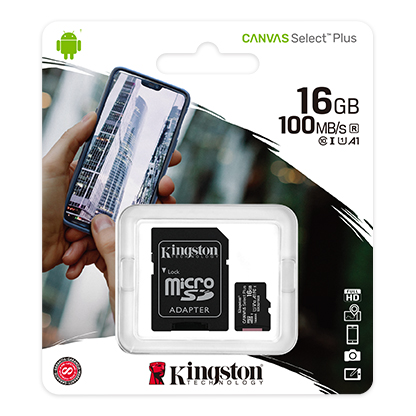 SDCS2/16GB Kingston, Plus microSD Card Class 10 Up to 100 MB/s