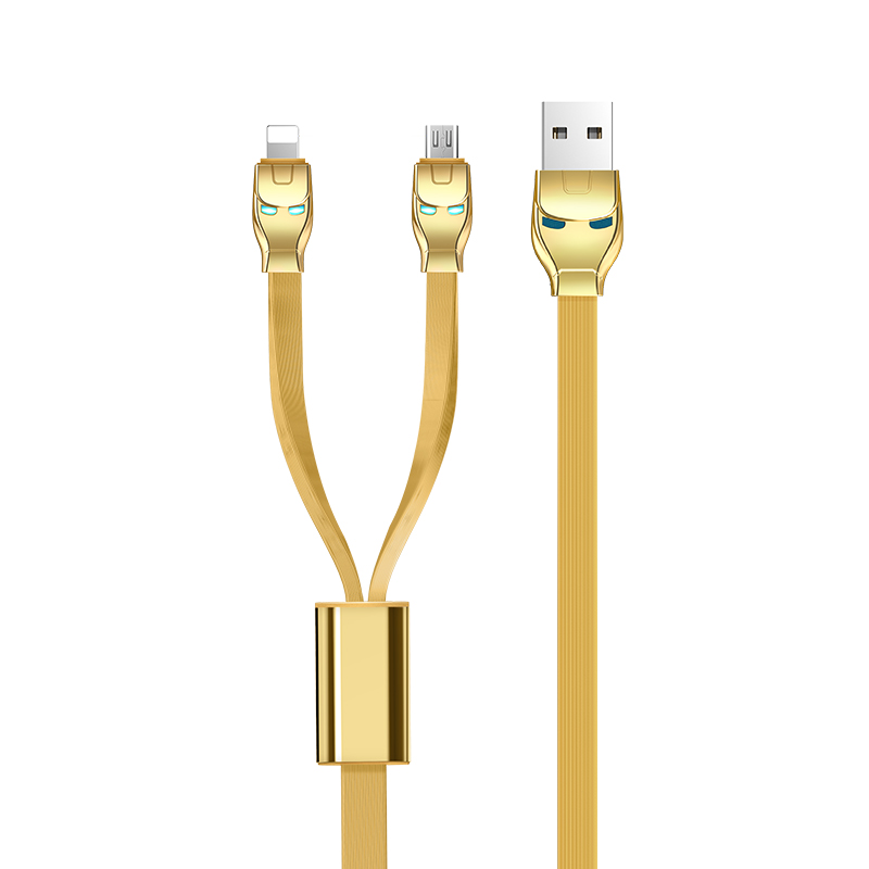USB Cables/ Hoco U14 Steel man one pull two charging cable, lightning +micro gold
